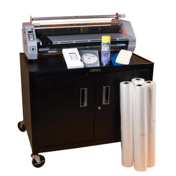 Black workstation with roll film and cleaning supplies