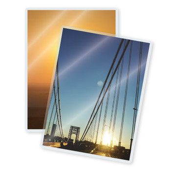 Laminated bridge at sunset photo