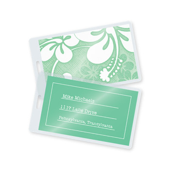 Green laminated luggage tag w/ pre-punched slot