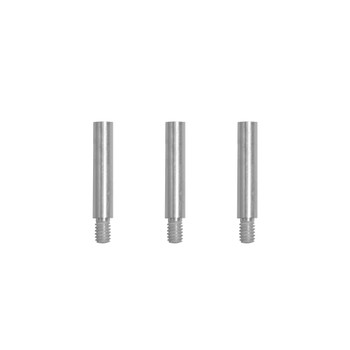 Three silver screw post extensions