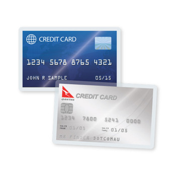 Credit cards in self laminating pouch