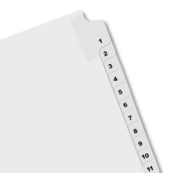 white numbered index tabs
