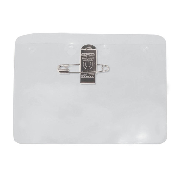 Clear Vinyl Horizontal Badge Holder W/ Pin-Clip Attachment