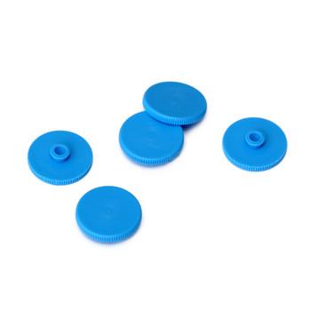 Five blue plastic pads