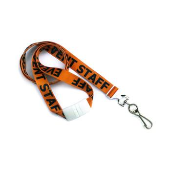 """Orange pre-printed """"staff"""" breakaway lanyard"""