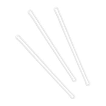 Three clear plastic loops
