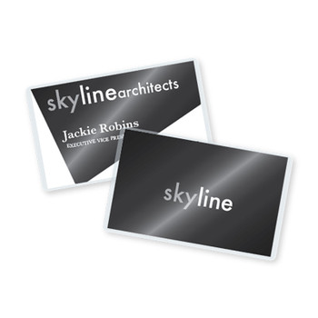 two laminated business cards