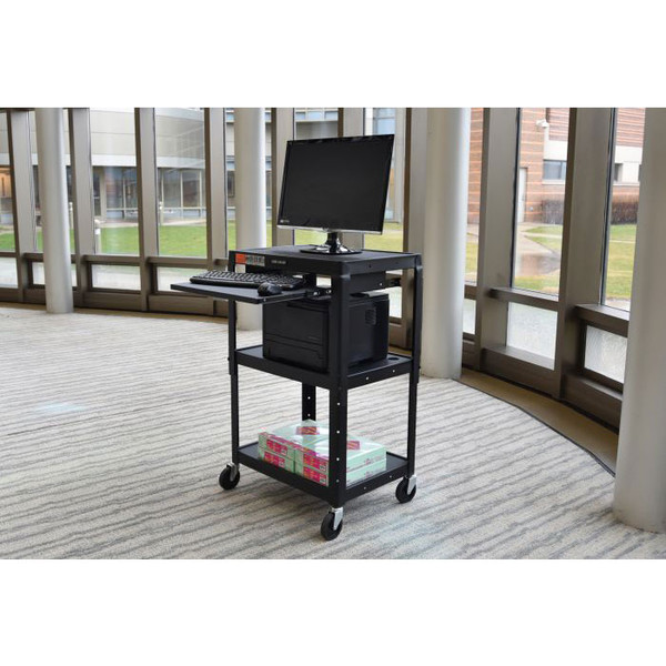 computer and printer on cart