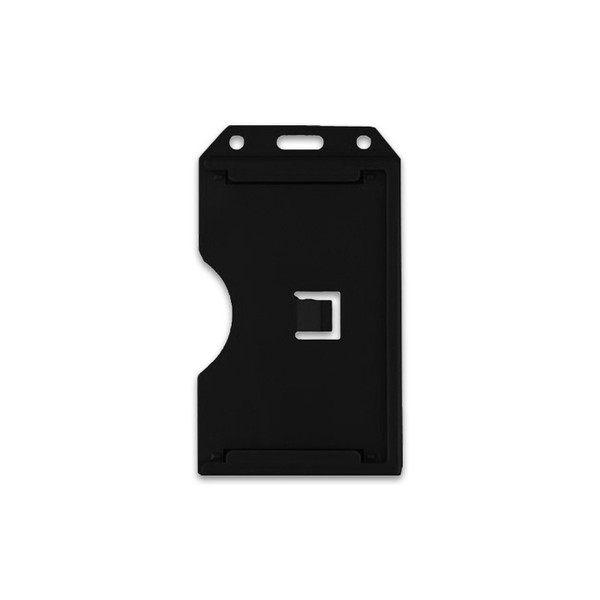 Black Vertical 2-Sided Open-Face Multi-Card Holder With Slot/Chain Holes