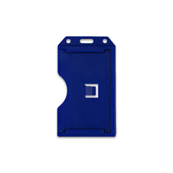 Blue Vertical 2-Sided Open-Face Multi-Card Holder With Slot/Chain Holes