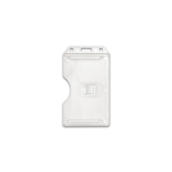 Clear Vertical 2-Sided Open-Face Multi-Card Holder With Slot/Chain Holes