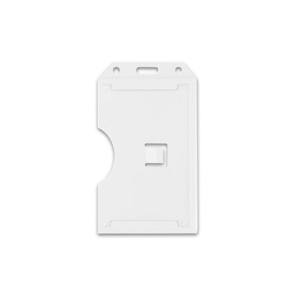 White Vertical 2-Sided Open-Face Multi-Card Holder With Slot/Chain Holes