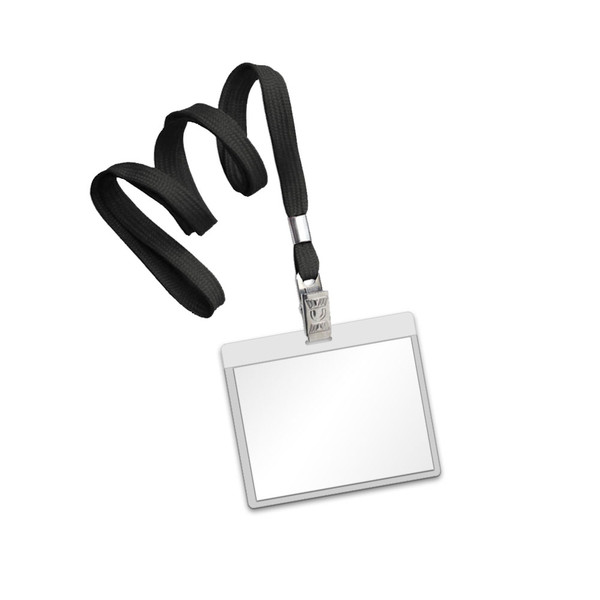Black flat lanyard with clear laminating pouch with bulldog hook