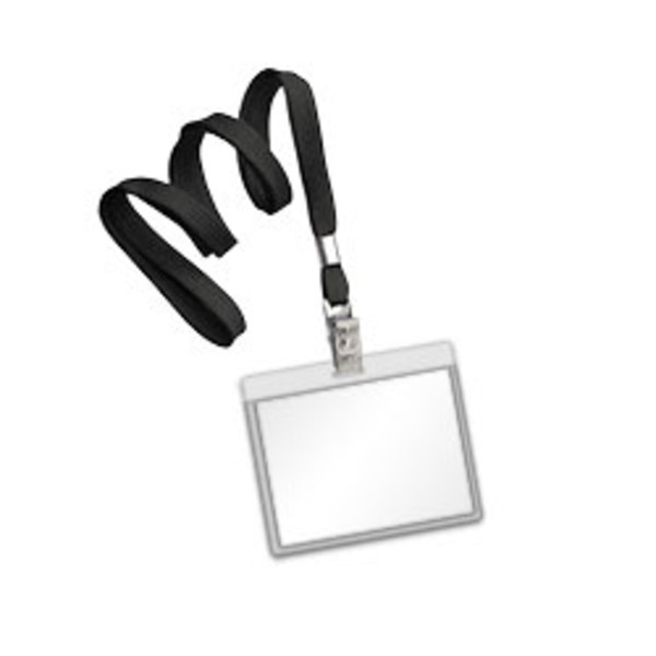 Black flat lanyard with bulldog hook and clear laminating pouch
