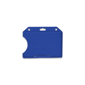 Blue Horizontal 2-Sided Open-Face Multi-Card Holder With Slot/Chain Holes