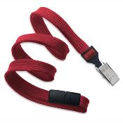 Red Flat Braided Breakaway Lanyard With Bulldog Clip