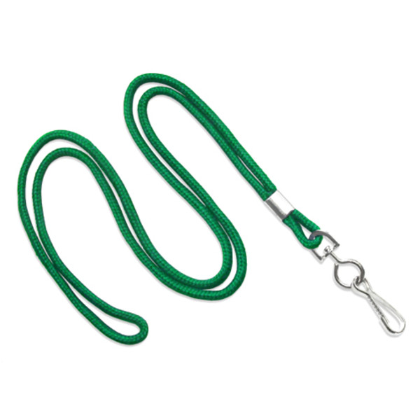 Green round lanyard with swivel hook