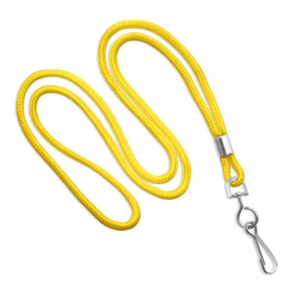 Yellow round lanyard with swivel hook
