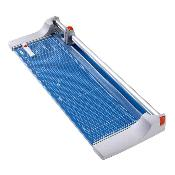 Blue and grey 36.25 In. Rolling Paper Trimmer with grid lines