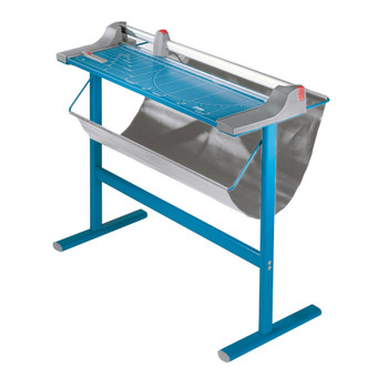Blue 51.125 In. Rolling Paper Trimmer With Stand and catch guard