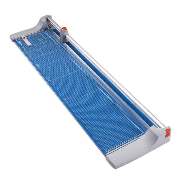 Blue and grey 51.125 In. Rolling Paper Trimmer with guide lines