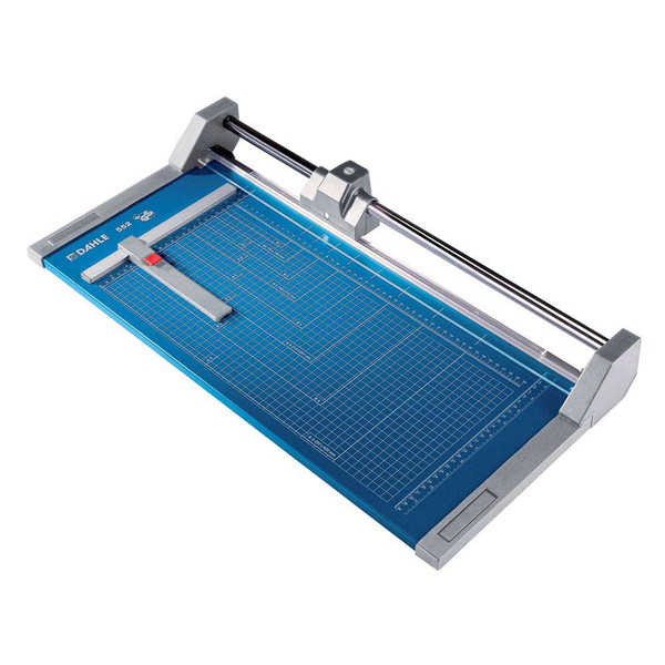 Blue and grey 28.25 In. Rolling Paper Trimmer with guide and guide lines