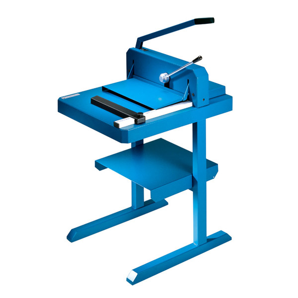Blue paper trimmer stand and paper trimmer