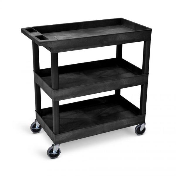 black tub cart with 3 shelves