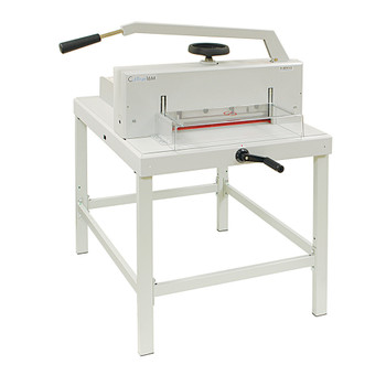 Tan 16M Guillotine Cutter on a stand and protective cover