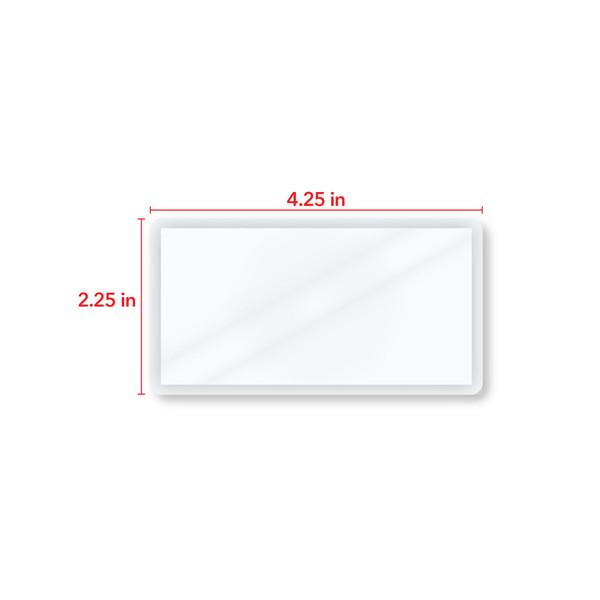 4.25 inch by 2.25 inch card