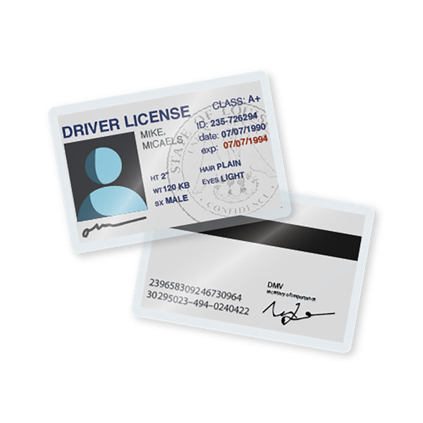 7 mil laminated Driver's License