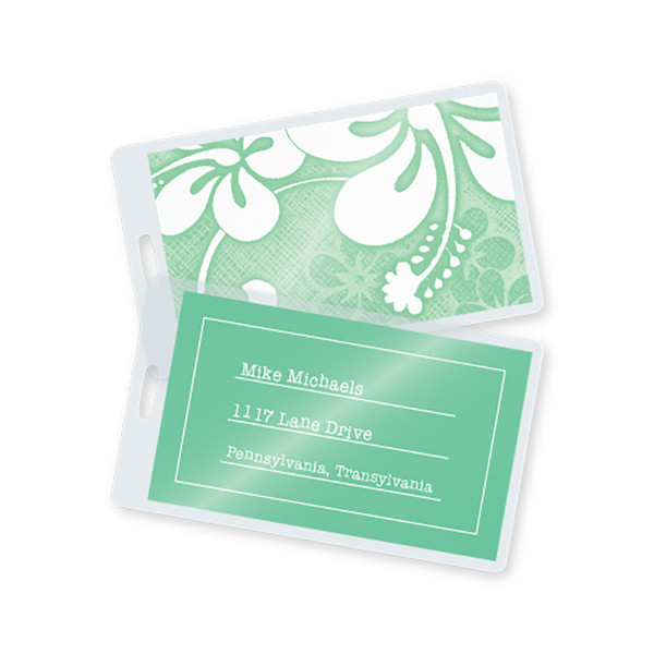 Laminated Business Card Luggage Tags 10 Mil Tag Pouches