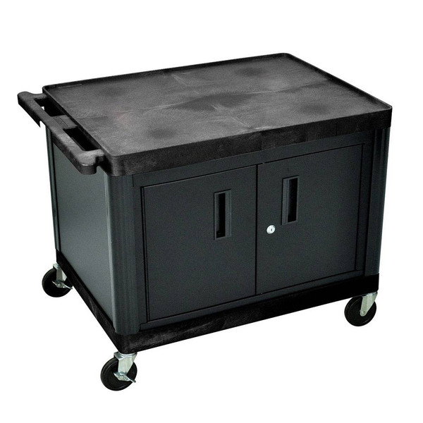 rolling cabinet with 2 shelves