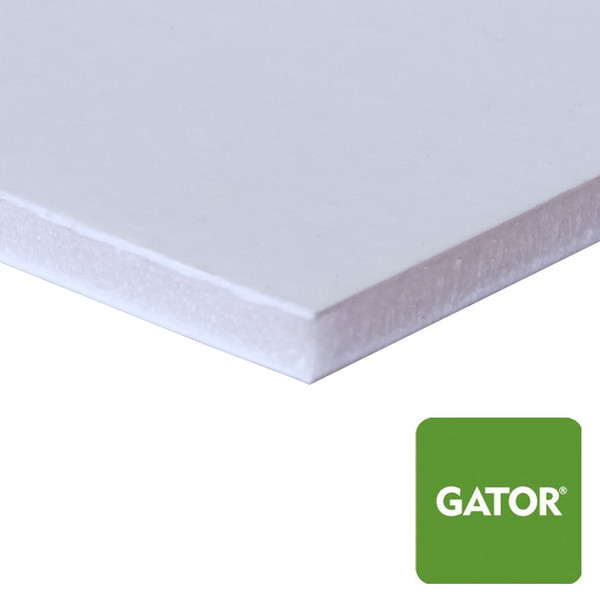 Heat Activated White Gator Mounting Board - side view with green gator icon in corner