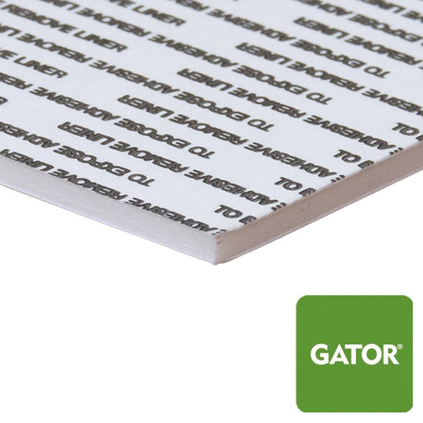 White Gator Board With Self-Stick Permanent Adhesive - side view with green gator icon in the corner
