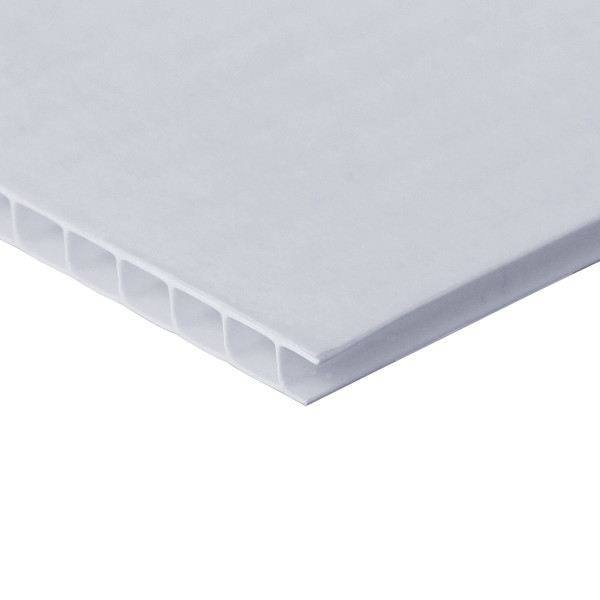 White Corrugated Plastic Boards With Self-Stick Permanent Adhesive - side view