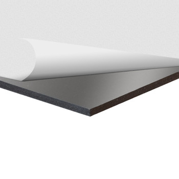 Black Sintra Board With Self-Stick Permanent Adhesive, corner view with layer pulled back
