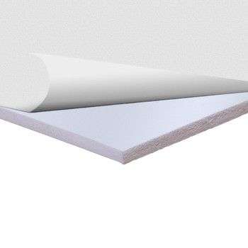 White Sintra Board With Self-Stick Permanent Adhesive, corner side view