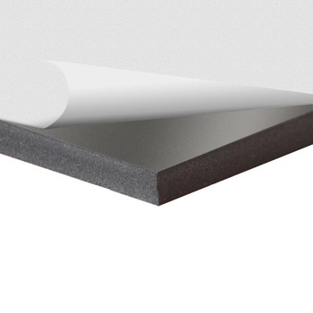 Black Sintra Board With Self-Stick Permanent Adhesive, corner view with top layer pulled back