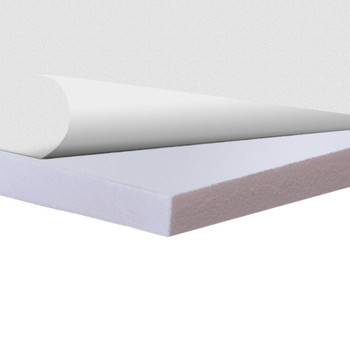 White Sintra Board With Self-Stick Permanent Adhesive, corner view with top layer peeled back