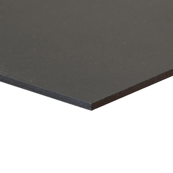 Black Sintra Board, No Adhesive - side corner view