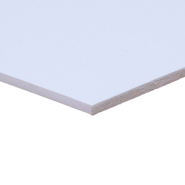 White Sintra Board, No Adhesive - side corner view