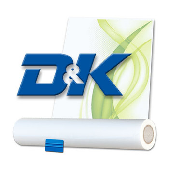 "D&K Logo with roll of adhesive and green stylistic markings - Adhesive 43"" X 200' X 3"" Core"