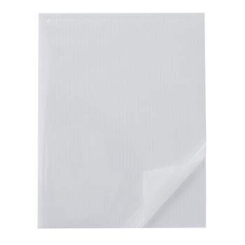 Heat Activated Pouch White Adhesive Corrugated Plastic Boards - with top layer peeled back