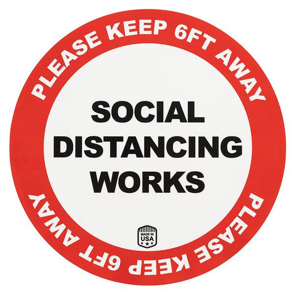 Social distancing works sticker