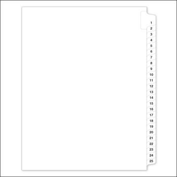 pre-printed tabs numbered 1 to 25