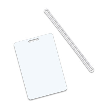 White luggage tag with clear loops