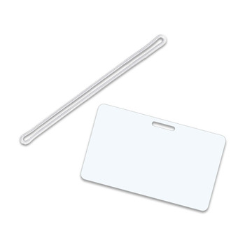 White Military card with clear loop