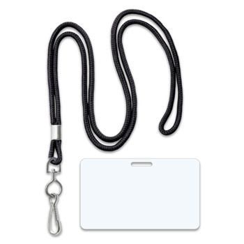 Black Round Lanyard + 5 Mil Military Card Laminating Pouches