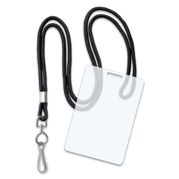 Black Round Lanyards + 10 Mil Luggage Tag Laminating Pouches